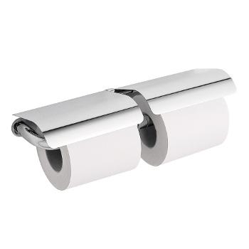 dubbele toiletrolhouder met deksel chroom